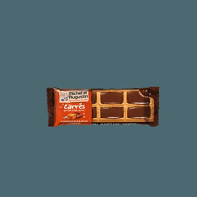 Petits carrés caramel salé et chocolat au lait